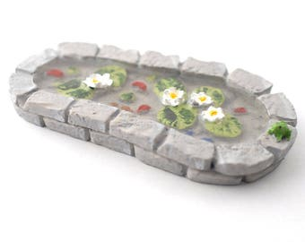 Grey Stone Pond for Fairy Gardens and Dolls Houses