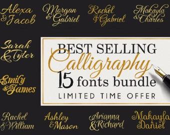 Best Selling Calligraphy Font 15 pack font bundle SVG Cursive Script Silhouette Cricut