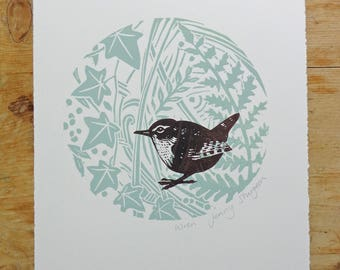 Wren - Fern and Ivy Original Lino Print