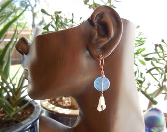 Natural Gemstone Blue Angelstone White Mother of Pearl carved flower Copper Lever Back earring wires 5288 N