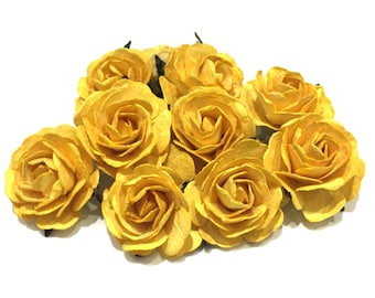 Yellow Heritage Mulberry Paper Roses Hr003