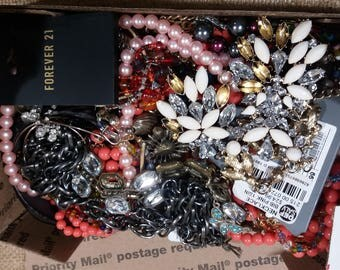 Bulk Junk Jewelry Lot, Full Small Flat Rate Box,  2 Pounds.( lot J3 )