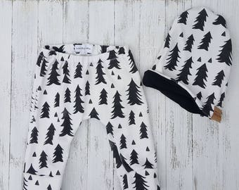 Christmas tree baby pants- baby boy pants- gender neutral set - black and white print, ready to ship