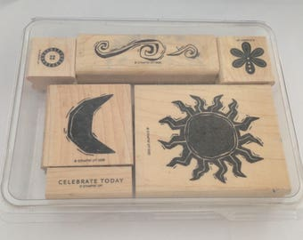 Mounted Stampin' Up! Celestial Skies  Wood Stamp Set