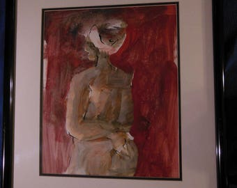 Ned Moulton Listed Artist Original Acrylic on Paper Matted and Framed Surrealist Modernist