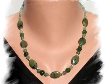 NEPHRITE JADE NECKLACE, AVENTURINE and Sterling Silver 925
