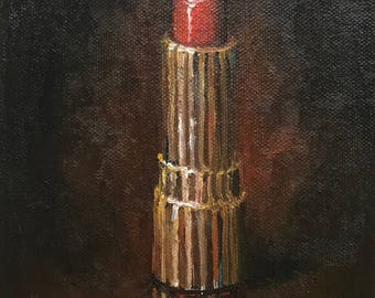 """Original Small Canvas (7""""x5"""") Oil Painting by Leslie DuPratt """"Rembrandt Red"""""""