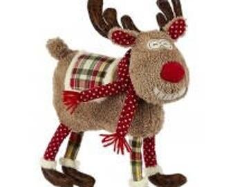 Christmas Short-Legged Deer with Plaid Blanket