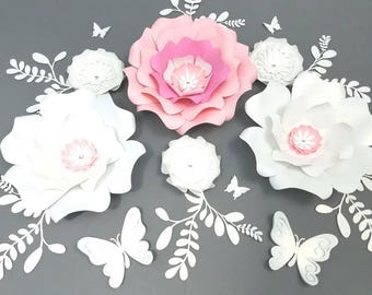 Nursery large white flowers, Baby shower pink flowers, Large Paper flowers white, Big paper flowers, Girls room decor, Wedding flowers wall