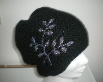 Black wool, hand made in ALSACE women Hat