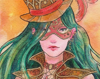 Steampunk Lady Masquerade Watercolor Artwork