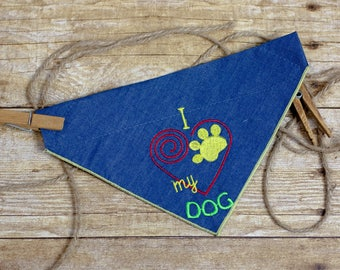 "Slip-On Pet Bandana (Embroidered ""I <3 My Dog"" Red Spiral)"