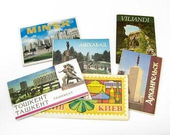 Vintage Soviet time sets of postcards: Tashkent, Ashgabat, Minsk, Kiev, Arkhangelsk, Viljandi