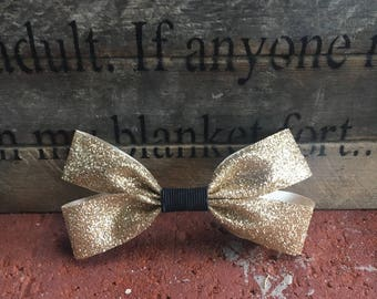 Infant/Toddler double gold hair bow with black detail