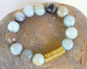 Beaded Stretchy Bracelet, Amazonite stone beads, Brass beads, Aqua colored stone beaded bracelet, stretchy bracelet