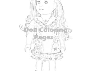 American Girl Doll Lea Coloring Page - Instant Download jpeg