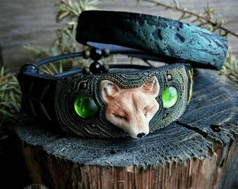 Fox jewelry Green bracelet Fox bracelet Animal jewelry Green jewelry Animal bracelet bracelet set Forest bracelet Herb bracelet gift for her