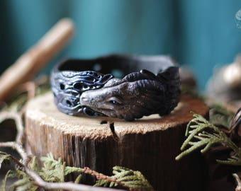 Dragon bracelet Dragon cuff Dark blue bracelet White dragon Dragon jewelry Statement bracelet Mother of dragons Magical dragon Pagan