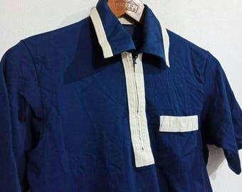 Rare Vintage 90s Retro Style Zipper Single Pocket Polo Shirt Brand Rondo Blue Navy Color