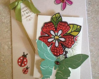 Get Well Card/Handmade Card/Floral with Large Green Butterfly/Red and Green/3D