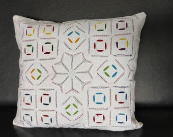 Cushion Cover - Cotton Backed Applique, Handmade Cushion Cover, Cotton Cushion Cover