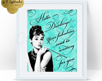 Audrey Hepburn bridal shower signs, hello, darlings, welcome, wedding, breakfast at tiffany's decor, party 8x10 {BW-Water brush-Grunge/Blue}