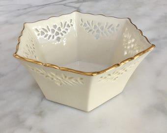 "Vintage Lenox Shelburne 9"" Hexagonal Bowl"