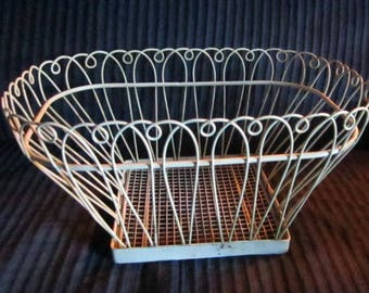 Vintage pretty white metal basket, suitable for anything