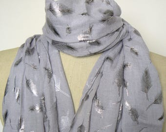 Ladies Womens Grey Feather Foil Print Scarf - Sparkly Metallic Silver Soft Light