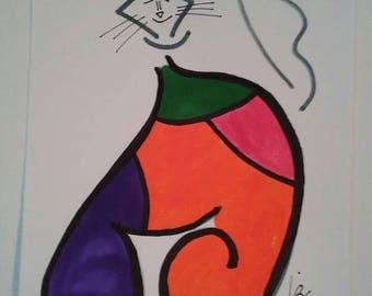 Multicolored, bubble cat