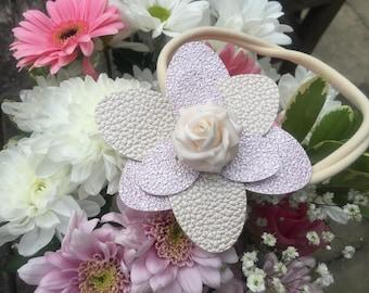 Flower head band, baby head band, pink flower headband, leatherette headband