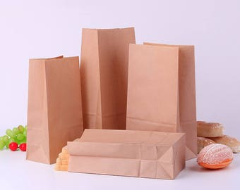 100pcs/lot 18X9X5cm 7sizes Brown/white Kraft Paper Gift Sandwich Bread Food take out Bags Party Wedding Favour