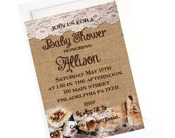 Burlap and Lace Rustic Baby Shower Invitation