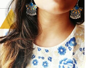 Enamel gypsy earrings, boho earrings, brass earrings