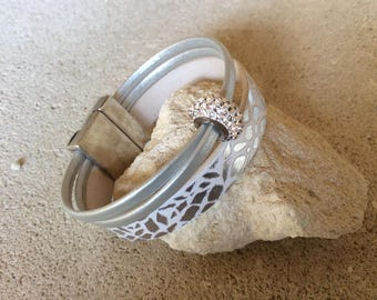 White marble and silver with a Swarovski BeCharmed leather bracelet
