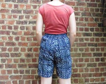 Indigo tie-dye shorts