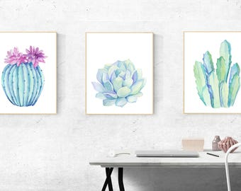 Succulent and Cactus Set of 3 Wall Art Instant Download