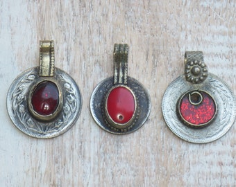 Kuchi Coin Pendant with Red Center, Coin Pendant, Afghan Coin