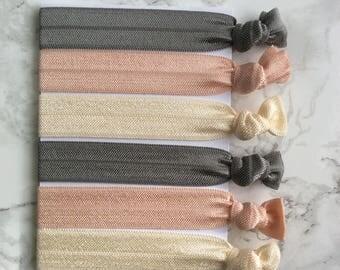 Elastic hair ties, Set of 6, Hair accessories, Ponytail holder