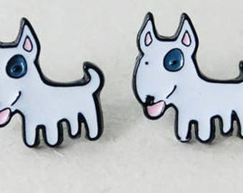 Bull Terrier enamel pierced stud earrings.