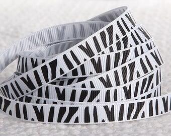 2M Ruban Gros grain 10 mm Zébré blanc / noir Noël Couture ♥