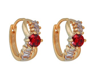 14k Gold Filled Center Red Stone Earring with a Crystal Clear Rectangle Stones
