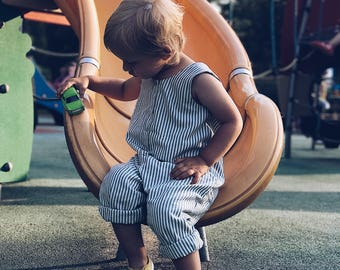 Cotton blue striped baby dungarees