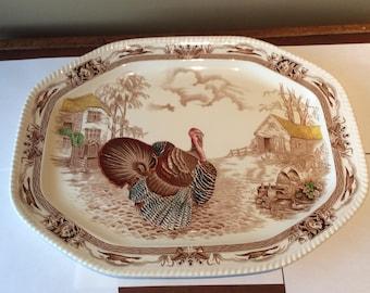 "Johnson Bros Brothers Barnyard King Turkey 20"" Platter"