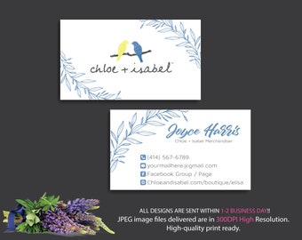 Chloe and Isabel Business Cards, Custom Chloe and Isabel Card, Fast Free Personalization, Chloe and Isabel, Printable Business Card CL02