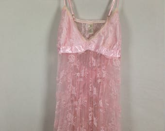 Pink lace flower nighty
