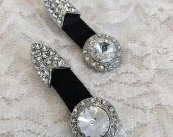 Rhinestone Belt Buckle on Black Belt Pierced Vintage Statement Earrings