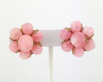Pink Opaque Cluster Bead Earrings, Swirl Beads, Clip On, Vintage, Mid Century