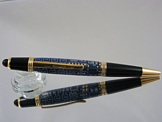 Handcrafted Stylus Pen in Gold and Blue Circuit Board Acrylic