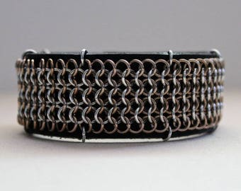 Chainmaille Cuff Bracelet, Black Leather Cuff, Chainmaille Bracelet, Cuff Bracelet, Bronze and Silver, Leather Cuff, Small/Medium